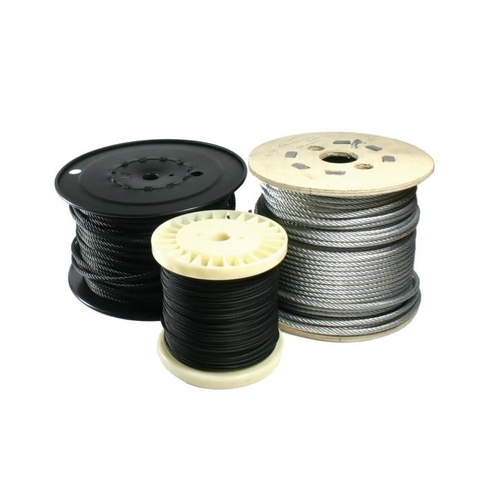 Doughty T401001 Flexible Wire Rope 4mm 100m Black