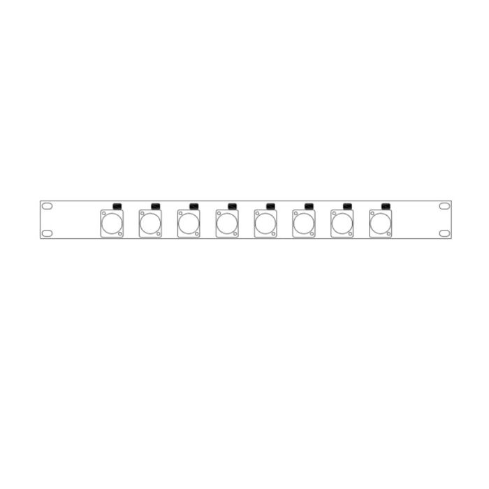 LINK PF1 08T 1U prepunched panel for 8 XLR with T-bar