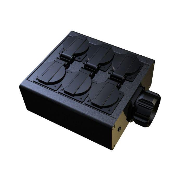 Socapex outlet box 6x Single Schuko