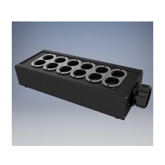 Socapex outlet box 6x Double Schuko
