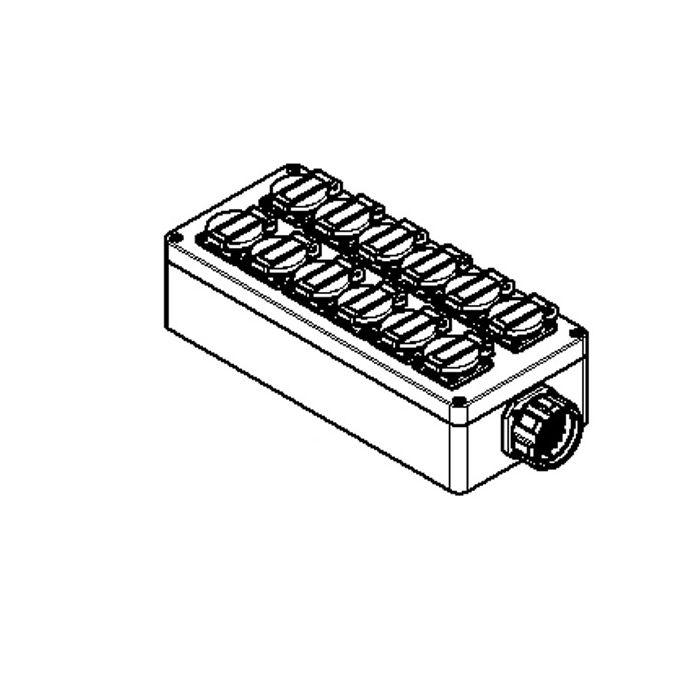 Socapex outlet box 12x Single Schuko