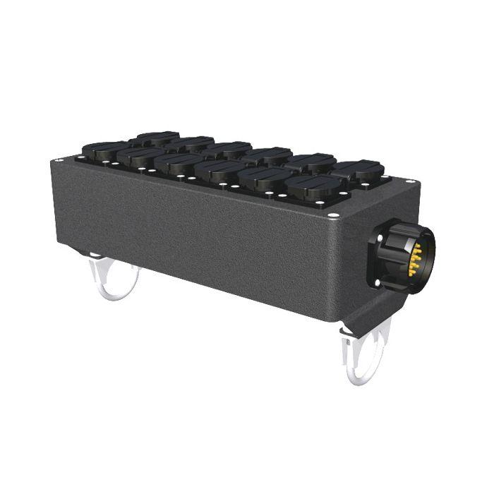 Socapex outlet box 12x Single Schuko Pipe Mount